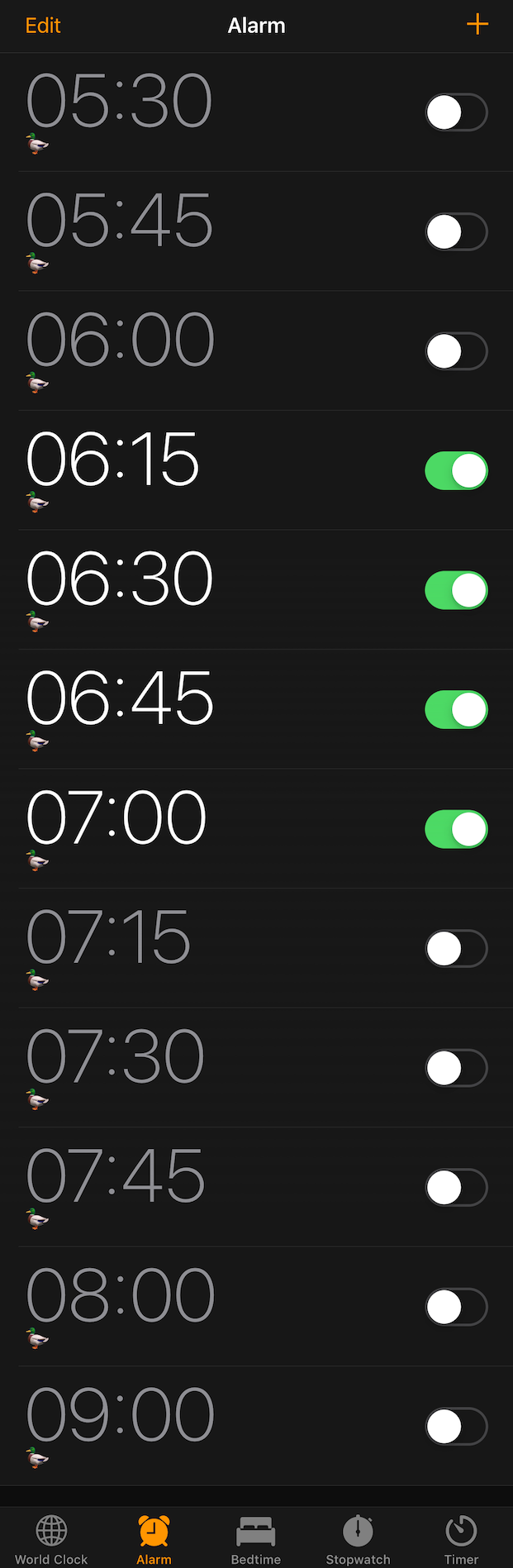 This is my long list of possible alarm clocks. Currently set for the very early mode. I named them all 🦆 - maybe I should have been more creative than that…